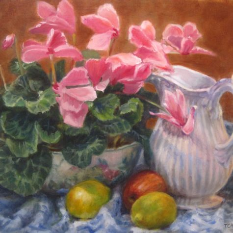 Cyclamen With Pitcher (Oil) 12x16