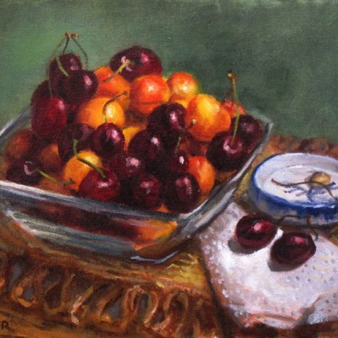 Red and Gold Cherries (Oil) 9x12