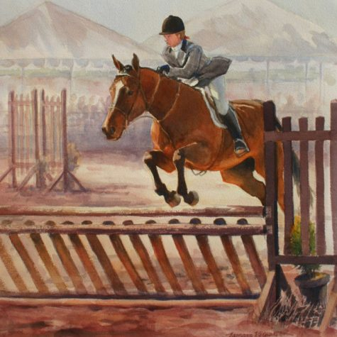 Hunter Over Fences (Watercolor)