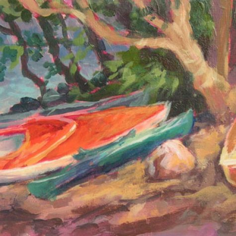3 Kayaks and A Sailboat (Acrylic))