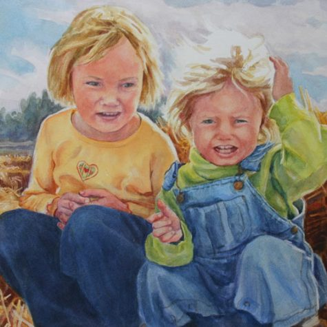 Sisters On The Hay (Watercolor)