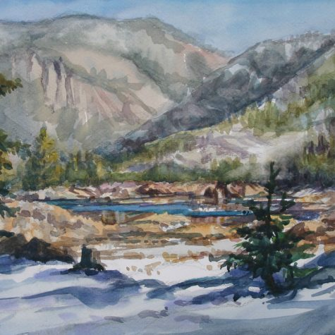 Pinecrest Lake in Winter (Watercolor)